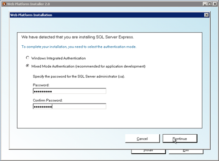 set SQL server authentication